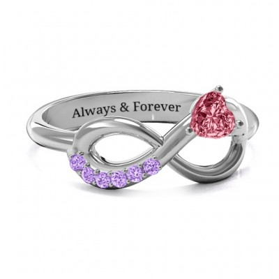 Infinity In Love Ring with Accents - Crafted By Birthstone Design™