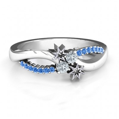 Light Up My Life Infinity Ring with Accent Stones  - Crafted By Birthstone Design™