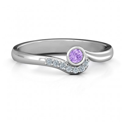 Low Wave Ring with Accents - Crafted By Birthstone Design™