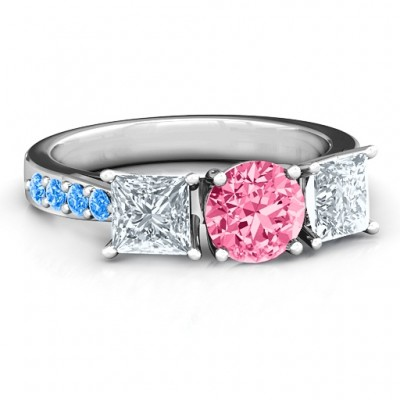 Majestic Three Stone Eternity with Twin Accents Ring  - Crafted By Birthstone Design™