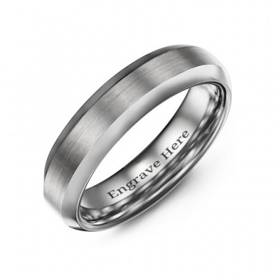 Men's Brushed Centre Polished Tungsten Ring - Crafted By Birthstone Design™