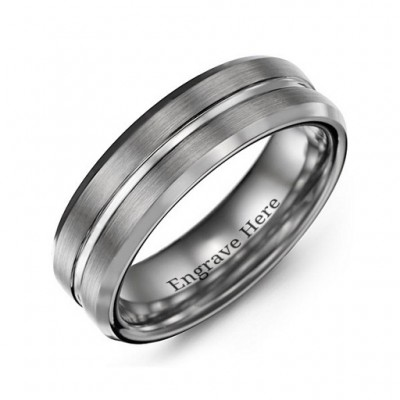 Men's Brushed Grooved Centre Beveled Tungsten Ring - Crafted By Birthstone Design™