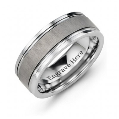 Men's Grooved Tungsten Ring with Brushed Centre - Crafted By Birthstone Design™