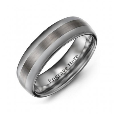 Men's Polished Brushed Centre Tungsten Ring - Crafted By Birthstone Design™