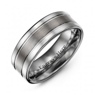 Men's Polished Tungsten Brushed Centre Ring - Crafted By Birthstone Design™