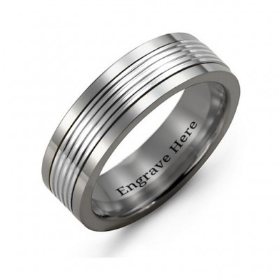 Men's Tungsten Inlay Band Ring - Crafted By Birthstone Design™