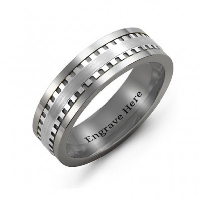 Men's Vertical Grooved Centre Tungsten Band Ring - Crafted By Birthstone Design™