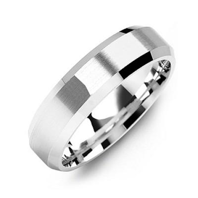 Modern Brushed Men's Ring with Beveled Edges - Crafted By Birthstone Design™