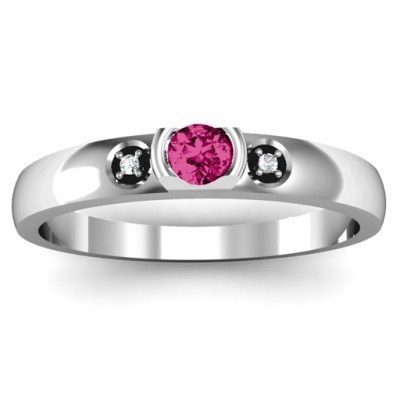 Open Bezel Cut Ring with Accents Stones  - Crafted By Birthstone Design™