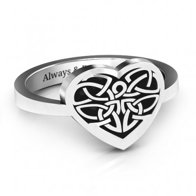 Oxidized Silver Celtic Heart Ring - Crafted By Birthstone Design™