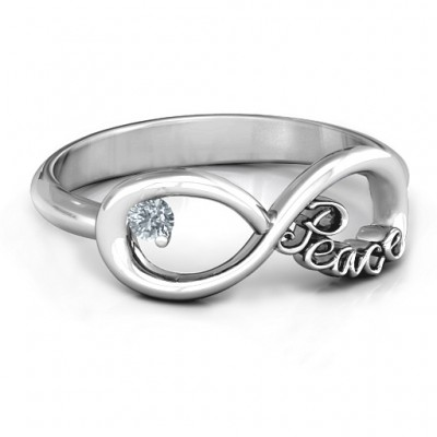 Peace Infinity Ring - Crafted By Birthstone Design™