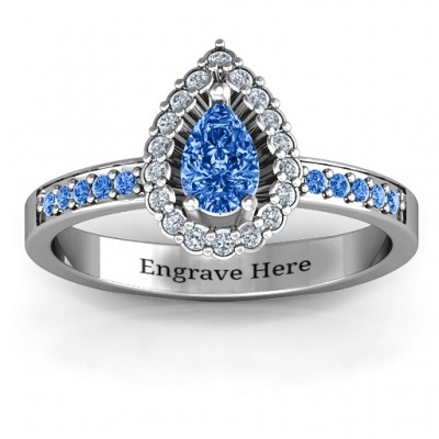 Pear Shaped Halo Ring - Crafted By Birthstone Design™
