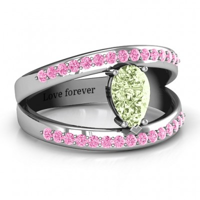 Pear With Flair Ring with Accents - Crafted By Birthstone Design™