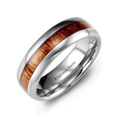 Polished Tungsten Ring with Koa Wood Insert - Crafted By Birthstone Design™