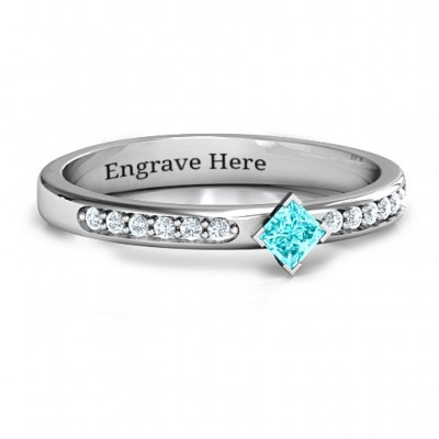 Princess Centre Stone Ring with Twin Accent Rows  - Crafted By Birthstone Design™