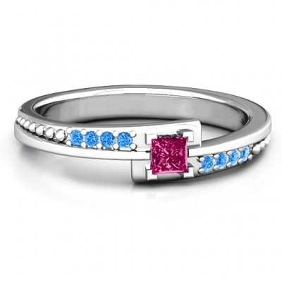Princess Cut Ring with Accents - Crafted By Birthstone Design™