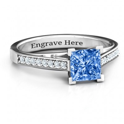 Princess Cut Ring with Channel Set Accents - Crafted By Birthstone Design™