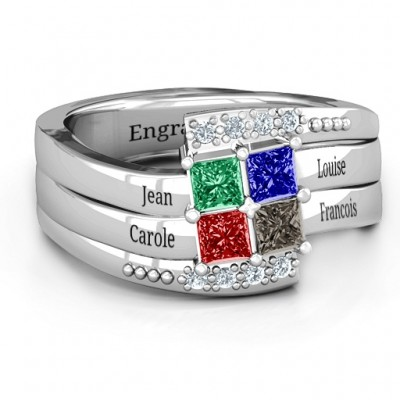 Quad Princess Stone Ring with Accents  - Crafted By Birthstone Design™