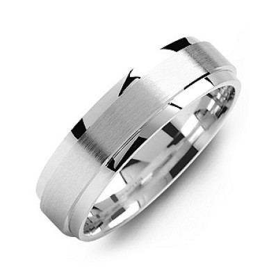 Raised Brush Centre Flat Polished Edges Men's Ring - Crafted By Birthstone Design™
