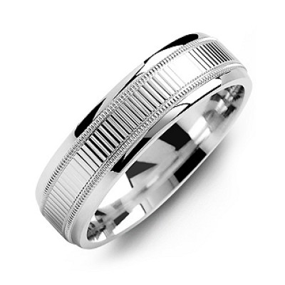 Ridged Men's Ring with Milgrain Edges - Crafted By Birthstone Design™