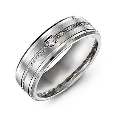 Rope Design Men's Ring with Stone and Beveled Edges  - Crafted By Birthstone Design™