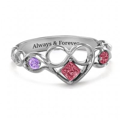 Shimmering Infinity Princess Stone Heart Ring  - Crafted By Birthstone Design™