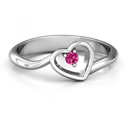 Single Heart Bypass Ring - Crafted By Birthstone Design™