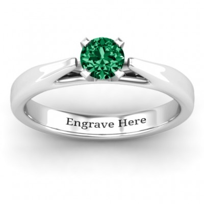 Ski Tip Solitaire Ring - Crafted By Birthstone Design™