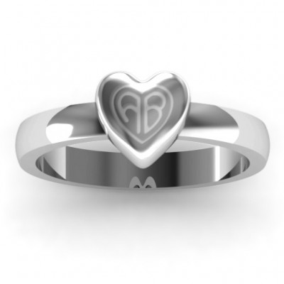 Small Engraved Monogram Heart Ring - Crafted By Birthstone Design™