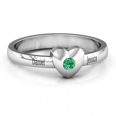 Solid Heart with Single Gemstone Ring  - Crafted By Birthstone Design™