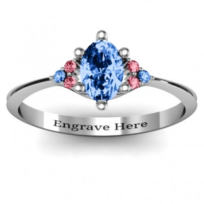 Solitaire Oval with Triple Accents Ring - Crafted By Birthstone Design™