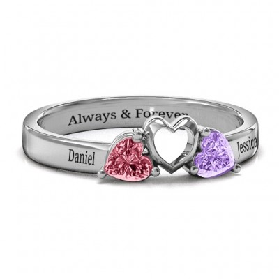 Sparkling Sweethearts Two-Stone Ring  - Crafted By Birthstone Design™