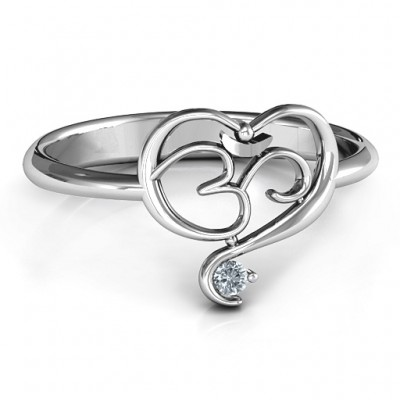 Spiritual Heart Om Ring - Crafted By Birthstone Design™