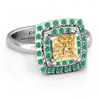 Splendid Double Halo Princess Ring - Crafted By Birthstone Design™