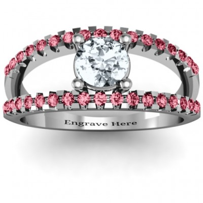 Split Shank Circle and Twin Accent Rows Ring - Crafted By Birthstone Design™