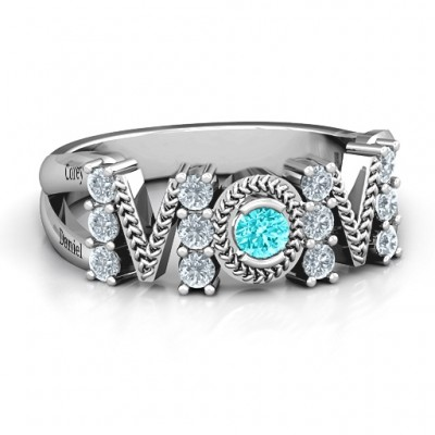 Split Shank Stone Filled MOM Ring  - Crafted By Birthstone Design™