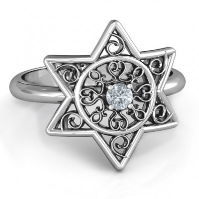 Star of David with Filigree Ring - Crafted By Birthstone Design™