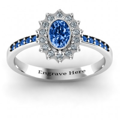 Starburst Ring with Stone Accents  - Crafted By Birthstone Design™