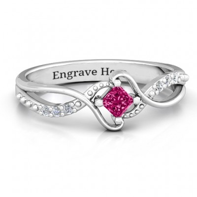 Sterling Silver  Espiral  Princess cut Ring with Accents - Crafted By Birthstone Design™
