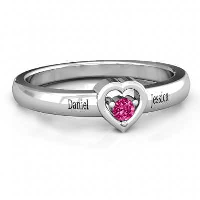 Sterling Silver  Solitaire  Heart Ring - Crafted By Birthstone Design™