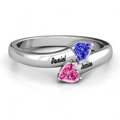 Sterling Silver  Tribute  Hearts Bypass Ring - Crafted By Birthstone Design™