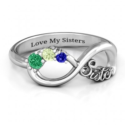 Sterling Silver 2-4 Stone Sisters Infinity Ring  - Crafted By Birthstone Design™