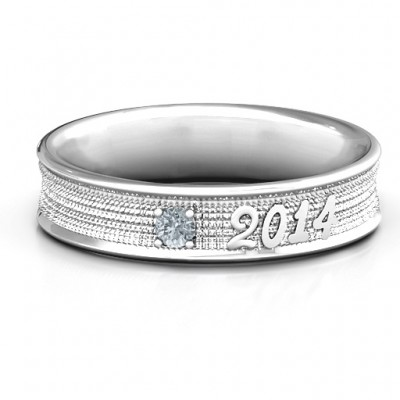 Sterling Silver 2014 Unisex Textured Graduation Ring with Emerald Stone  - Crafted By Birthstone Design™