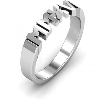 Sterling Silver 2015 Roman Numeral Graduation Ring - Crafted By Birthstone Design™