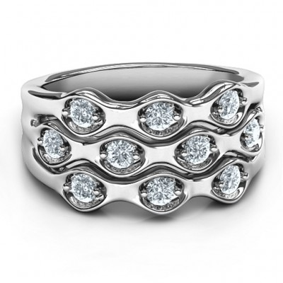 Sterling Silver 3 Tier Wave Ring - Crafted By Birthstone Design™