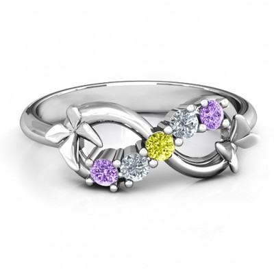 Sterling Silver 5 Stone Infinity with Soaring Butterflies  - Crafted By Birthstone Design™