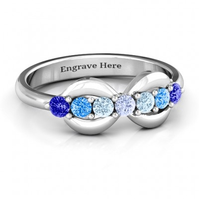 Sterling Silver 7 Stones Infinity Ring  - Crafted By Birthstone Design™