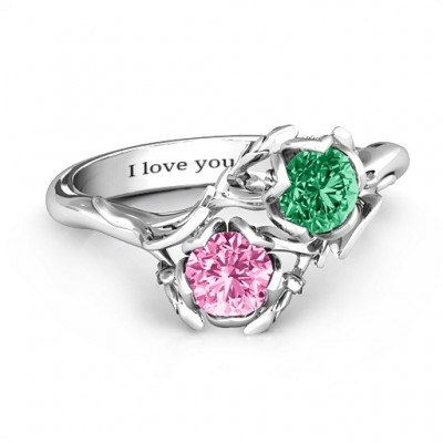 Sterling Silver Be-leaf In Love Double Gemstone Floral Ring  - Crafted By Birthstone Design™