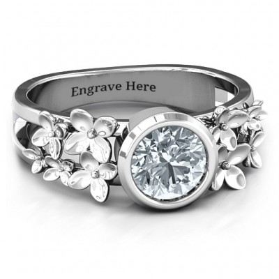 Sterling Silver Beautiful Blossoms with Split Shank Ring and Genuine Diamond Stone  - Crafted By Birthstone Design™