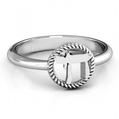 Sterling Silver Chai with Braided Halo Ring - Crafted By Birthstone Design™